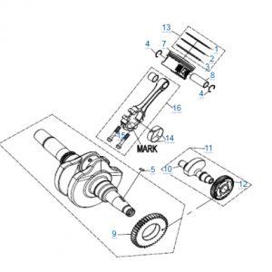Коленчатый вал-шатун-поршень для CFMOTO X4 Basic